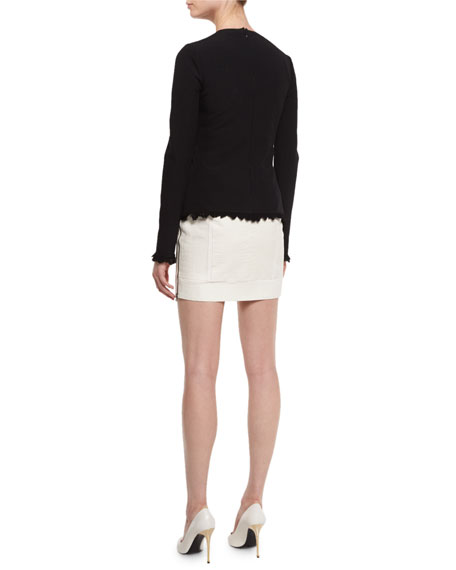 Fringe-Hem Long-Sleeve Sweater, Black
