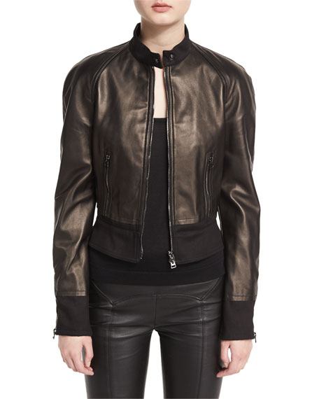 Stand-Collar Zip-Front Leather Bomber Jacket, Black