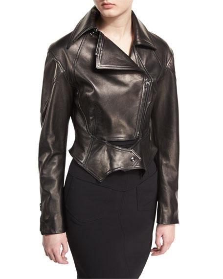 Zip-Front Short Moto Leather Jacket, Black