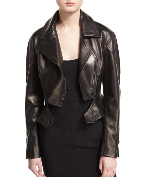 Zip-Front Short Moto Leather Jacket, Black