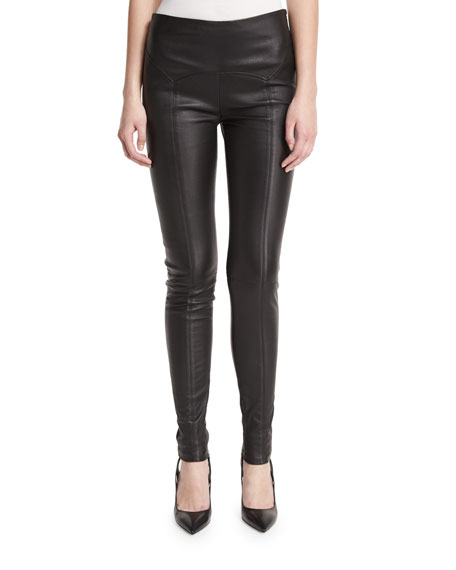 Yoke-Waist Leather Leggings, Black