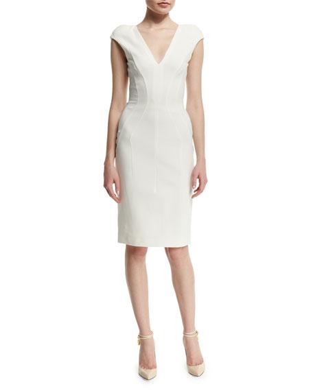TOM FORD Cap-Sleeve V-Neck Sheath Dress, Chalk