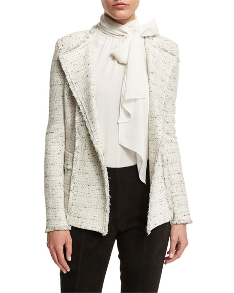 St. John CollectionIzza Knit Double-Breasted Jacket, Putty/Multi