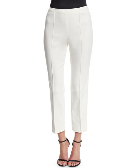 St. John Collection Alexa Stretch Micro Ottoman Capri Pants, Cream