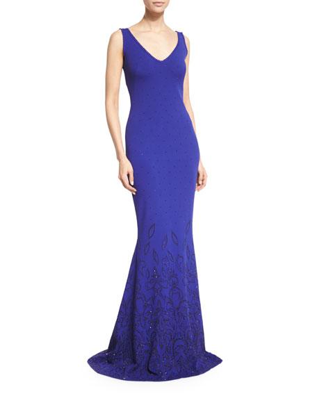 Embellished Knit V-Neck Gown, Indigo