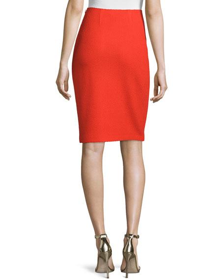Textural Twill Pencil Skirt, Geranium