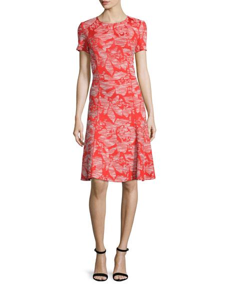 St. John Collection Floral Knit Short-Sleeve Dress,