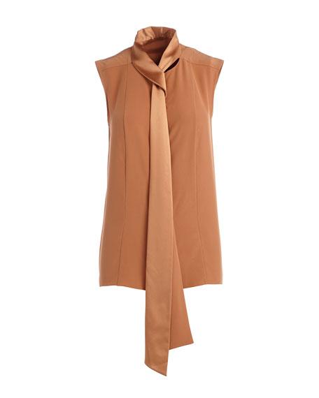 Sleeveless Tie-Neck Blouse, Fawn