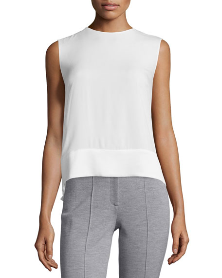 Adam Lippes Sleeveless Crewneck Shell, Ivory