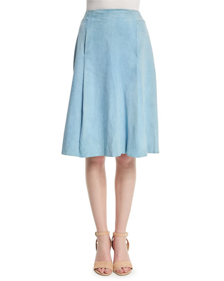 Adam Lippes Suede A-Line Knee-Length Skirt, French Blue