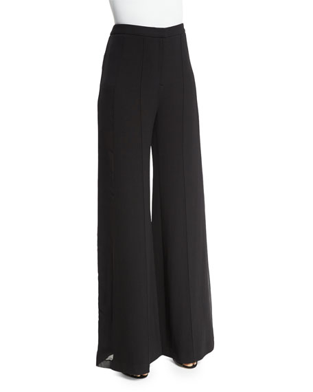 Adam Lippes High-Waist Wide-Leg Pants, Black