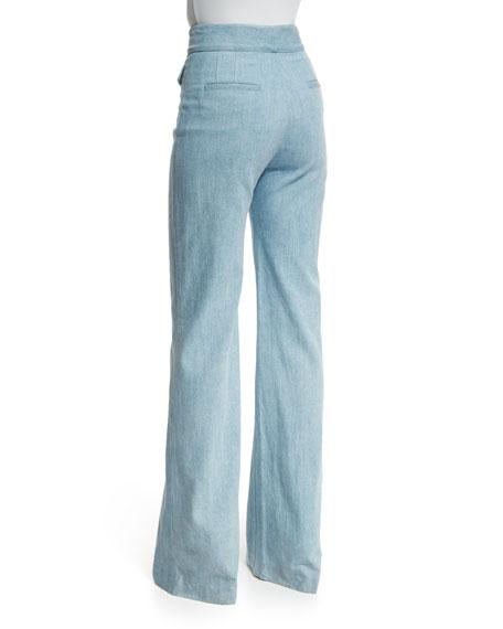 High-Waist Boot-Cut Jeans, Light Stonewash