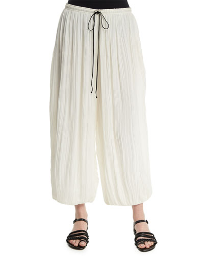 Drawstring-Waist Wide-Leg Ankle Pants, Ivory