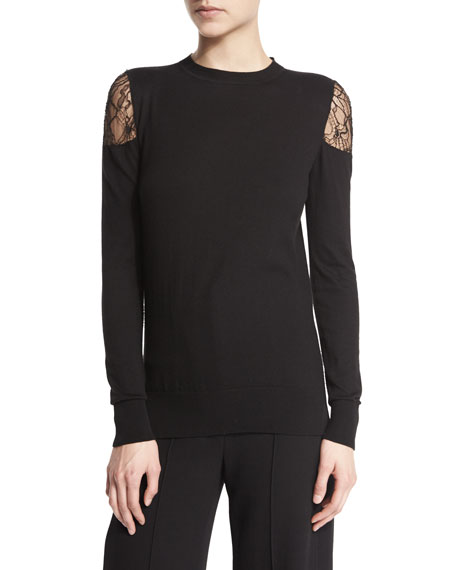 Adam Lippes Long-Sleeve Lace Cold-Shoulder Top, Black