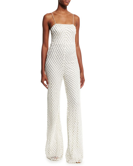 Sleeveless Corded-Macrame Jumpsuit, Ivory