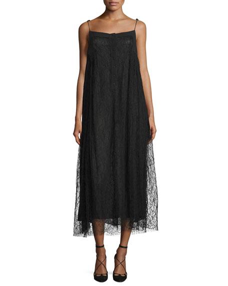 Adam Lippes Sleeveless Lace-Overlay Midi Dress, Black