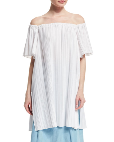 Adam Lippes Off-The-Shoulder Pleated Tunic, White