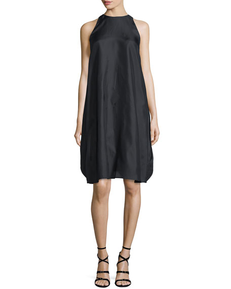 Adam Lippes Sleeveless Layered Cape-Back Dress, Black