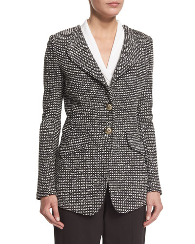 Moorisha Knit Jacket w/ Faux Pockets, Mahogany/Multi