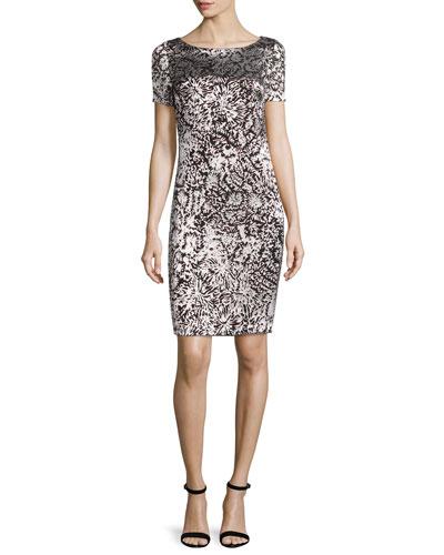 Floral Burnout Short Sleeve Shift Dress, Caviar/Alabaster