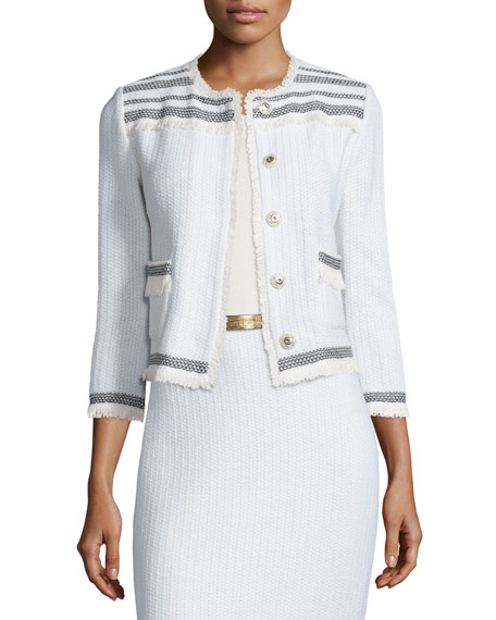 St. John CollectionBerber Knit 3/4-Sleeve Jacket, Cream/Caviar
