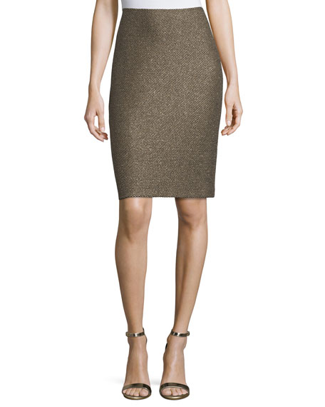 Casablanca Glimmer-Knit Pencil Skirt, Caviar/Gold