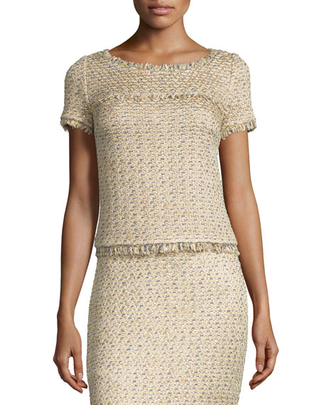 St. John Collection Raffia-Knit Short-Sleeve Top, Gold/Multi