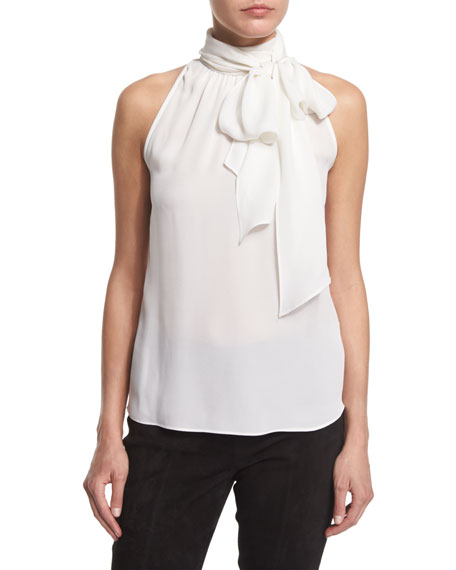 St. John Collection Georgette Tie-Neck Shell, Bianco