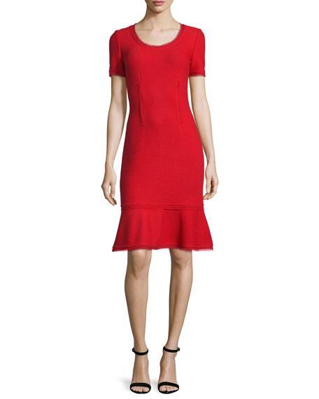 St. John Collection Textured Short-Sleeve Flounce Dress, Paprika