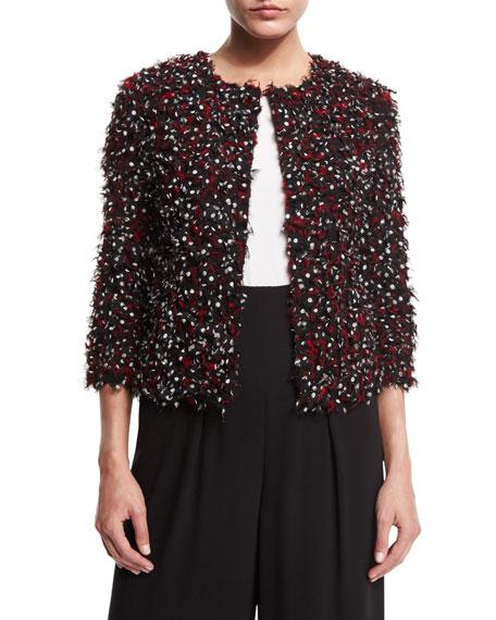 St. John Collection Polka-Dot Ribbon-Tweed Jacket, Caviar/Multi