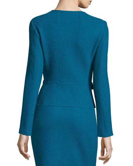 Textural Twill Knit Jacket, Baltic Blue