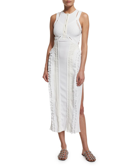 Alexander Wang Pearl Marrow Panel Tank Dress, Eggshell