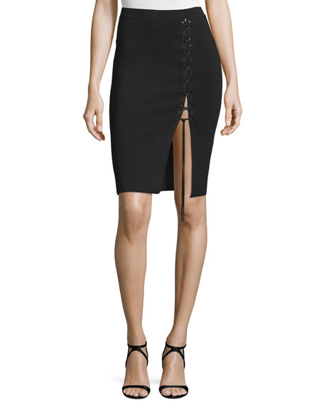Alexander Wang Lace-Up Pencil Skirt, Pitch