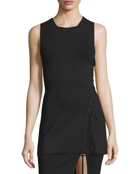 Alexander Wang Sleeveless Lace-Up Siding Tunic Top, Pitch
