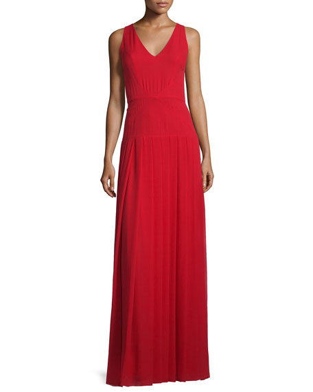 St. John Collection Silk Georgette V-Neck Gown, Paprika