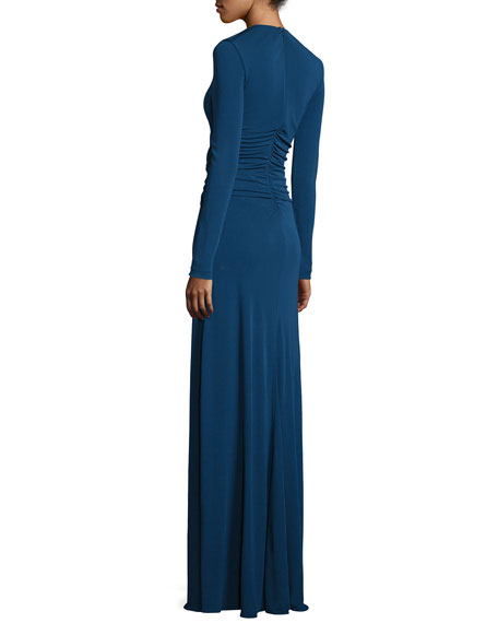 Ruched Matte Jersey V-Neck Gown, Sapphire