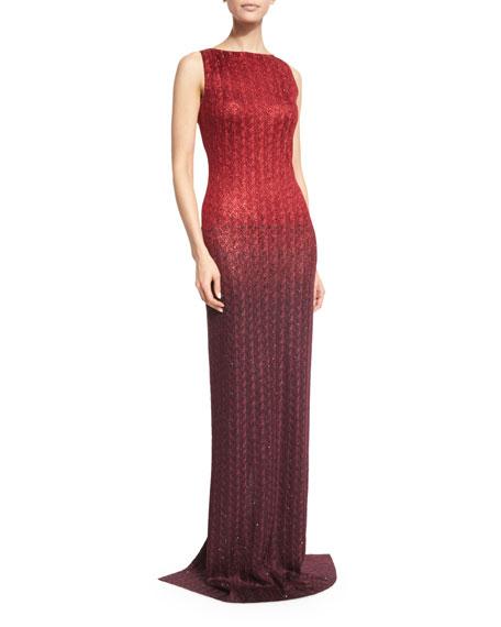 Riviera Sequined Bateau-Neck Gown, Paprika/Pomegranate