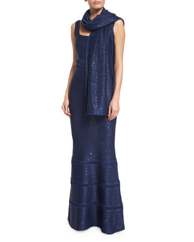 Sequined Knit Wrap, Sapphire