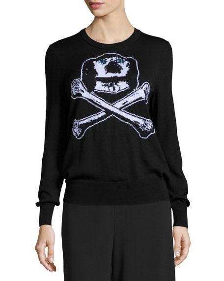 Libertine Dog & Bones Intarsia Cashmere Sweater, Black