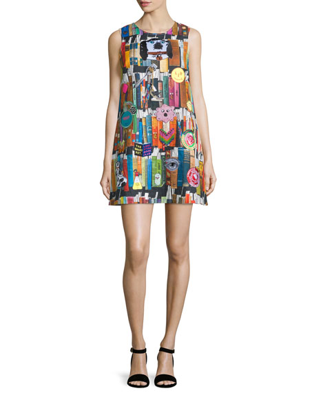 Libertine Book-Print Cashmere Shift Dress, Multi Colors