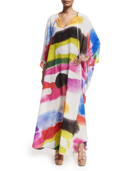 Libertine Long-Sleeve Provence Brushstroke Printed Caftan, Multi Brite