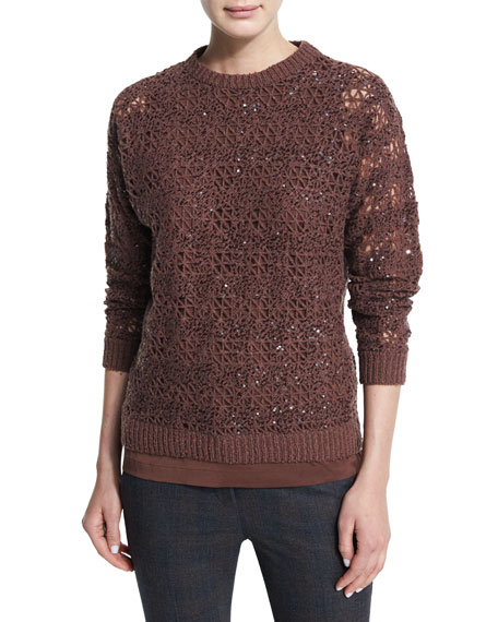 Brunello Cucinelli Embellished-Crochet Jewel-Neck Sweater, Henna