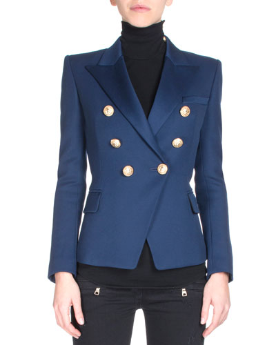 Classic Double-Breasted Blazer, Marine