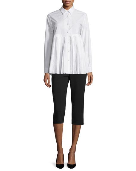 Button-Front Plisse-Hem Blouse, White