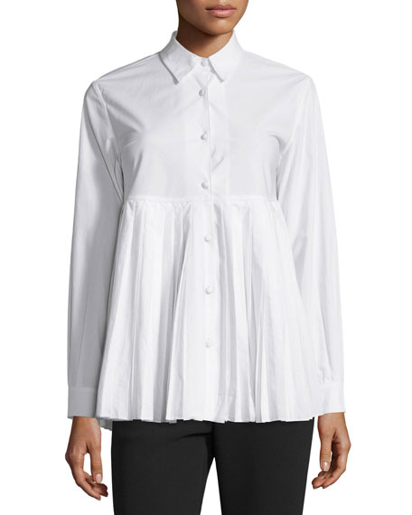 Co Button-Front Plisse-Hem Blouse, White