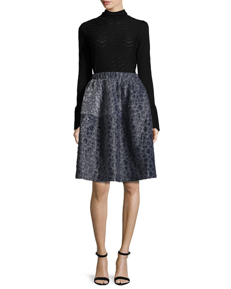 Pebble-Jacquard Bubble Skirt, Navy