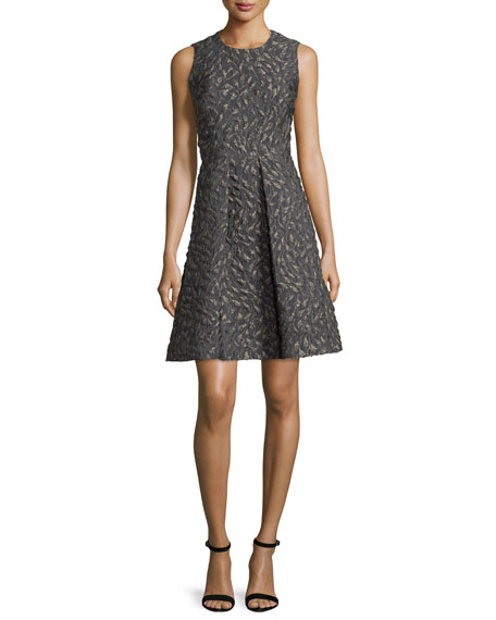 Co Sleeveless Jacquard A-Line Dress, Gray