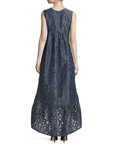 Co Sleeveless Textured High-Low Maxi Dress, Navy