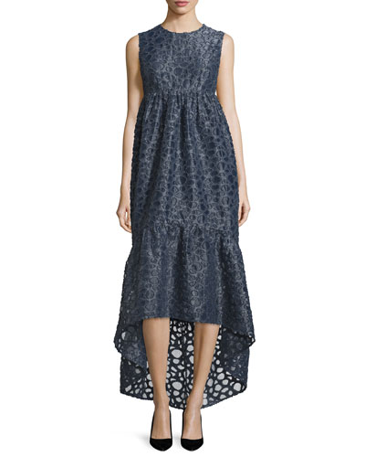 Sleeveless Textured High-Low Maxi Dress, Navy