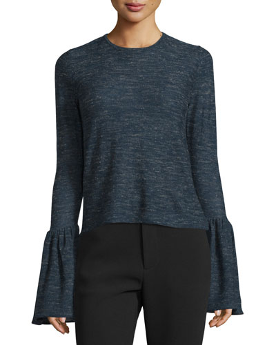 Long-Sleeve Bell-Cuff Sweater, Indigo
